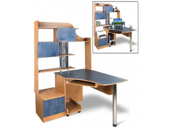 Компьютерный стол угловой Тиса Эксклюзив-6 Ольха темная-Ольха синяя