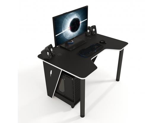 Геймерский игровой стол ZEUS™ IVAR-1200, черный/белый