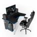 Геймерский игровой стол ZEUS™ IGROK-3, черный/синий