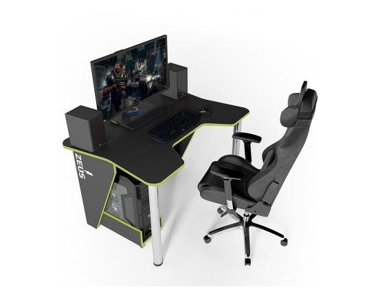 Геймерский игровой стол ZEUS™ IGROK-3, черный/зеленый