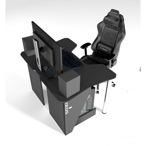 Геймерский игровой стол ZEUS™ IGROK-3, черный/черный