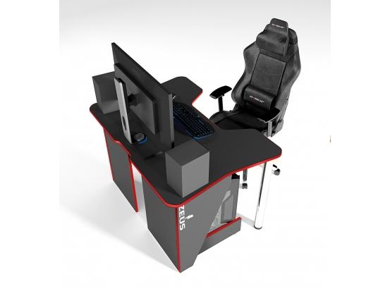 Геймерский игровой стол ZEUS™ IGROK-3, черный/красный