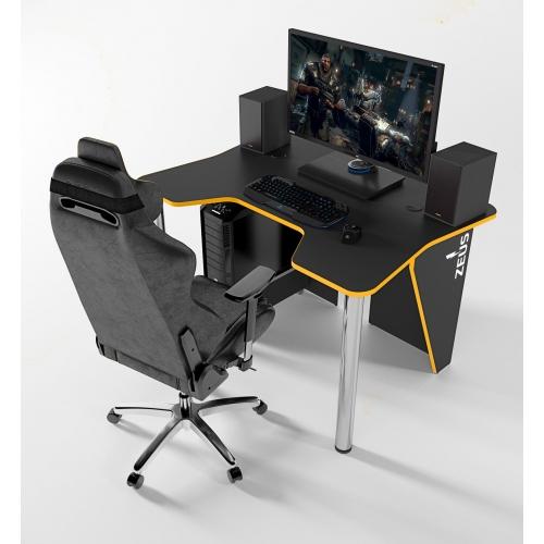 Геймерский игровой стол ZEUS™ IGROK-3, черный/желтый