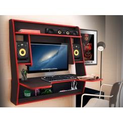 Геймерский навесной стол  ZEUS IGROK-MAX, венге/красный