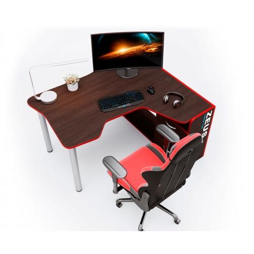 Геймерский угловой стол IGROK-TOR, орех/красный ZEUS™