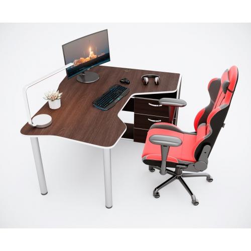Геймерский угловой стол IGROK-TOR, орех/белый ZEUS™