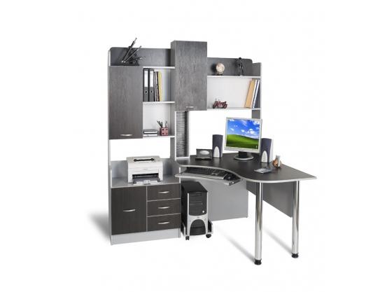 Компьютерный стол угловой Тиса СК-10 Алюминий-Венге магия