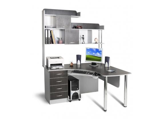 Угловой компьютерный стол Тиса СК-13 Алюминий-Венге магия