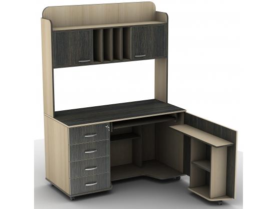 Компьютерный стол с надстройкой Тиса СУ-16 Венге магия - Дуб молочный