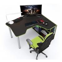 Геймерский угловой стол IGROK-TOR, черный/зеленый ZEUS™