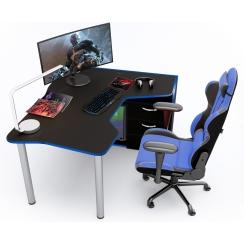 Геймерский угловой стол IGROK-TOR, черный/синий ZEUS™