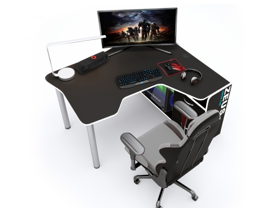 Геймерский угловой стол  IGROK-TOR, черный/белый ZEUS™