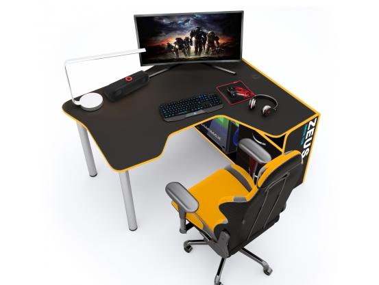 Геймерский угловой стол IGROK-TOR, черный/желтый ZEUS™