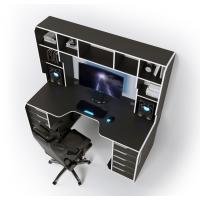 Геймерский эргономичный стол ZEUS™ Viking-3L, 180х92 (87) см, черный/белый