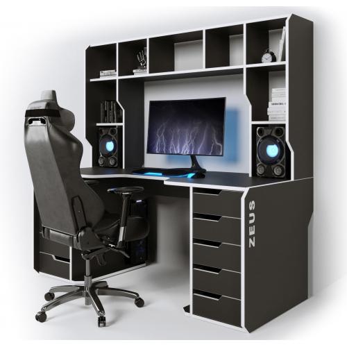 Геймерский эргономичный стол ZEUS™ Viking-3S, 160х85 (80) см, черный/белый