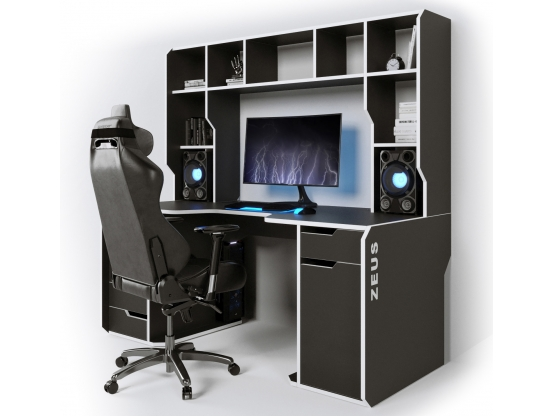 Геймерский эргономичный стол ZEUS™ Viking-4S, 160х85 (80) см, черный/белый