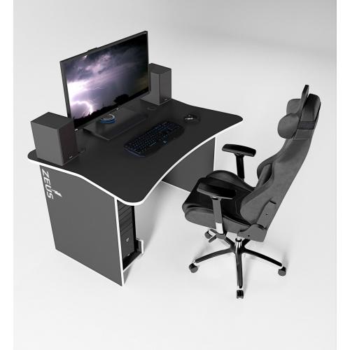 Игровой геймерский стол ZEUS™ ZET-1, черный/белый