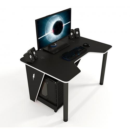 Геймерский игровой стол ZEUS™ IVAR-1400, черный/белый