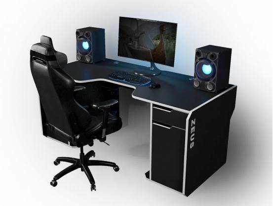 Геймерский эргономичный стол ZEUS™ Viking-2М, 180х85 (80) см, черный/белый