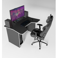 Геймерский игровой стол ZEUS IGROK-1 черный-белый