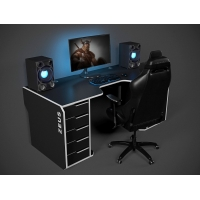 Геймерский эргономичный стол ZEUS™ Viking-2L, 180х92 (87) см, черный/белый