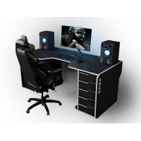 Геймерский эргономичный стол ZEUS™ Viking-1L, 180х92 (87) см, черный/белый